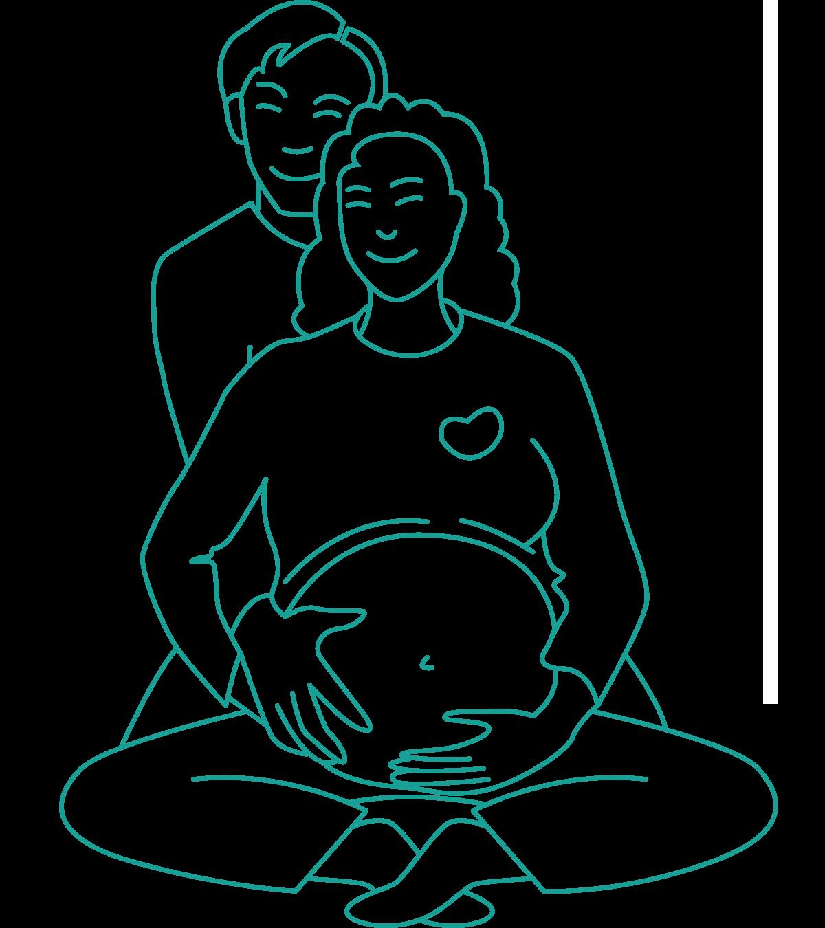 Gravid mamma og pappa er glade sammen