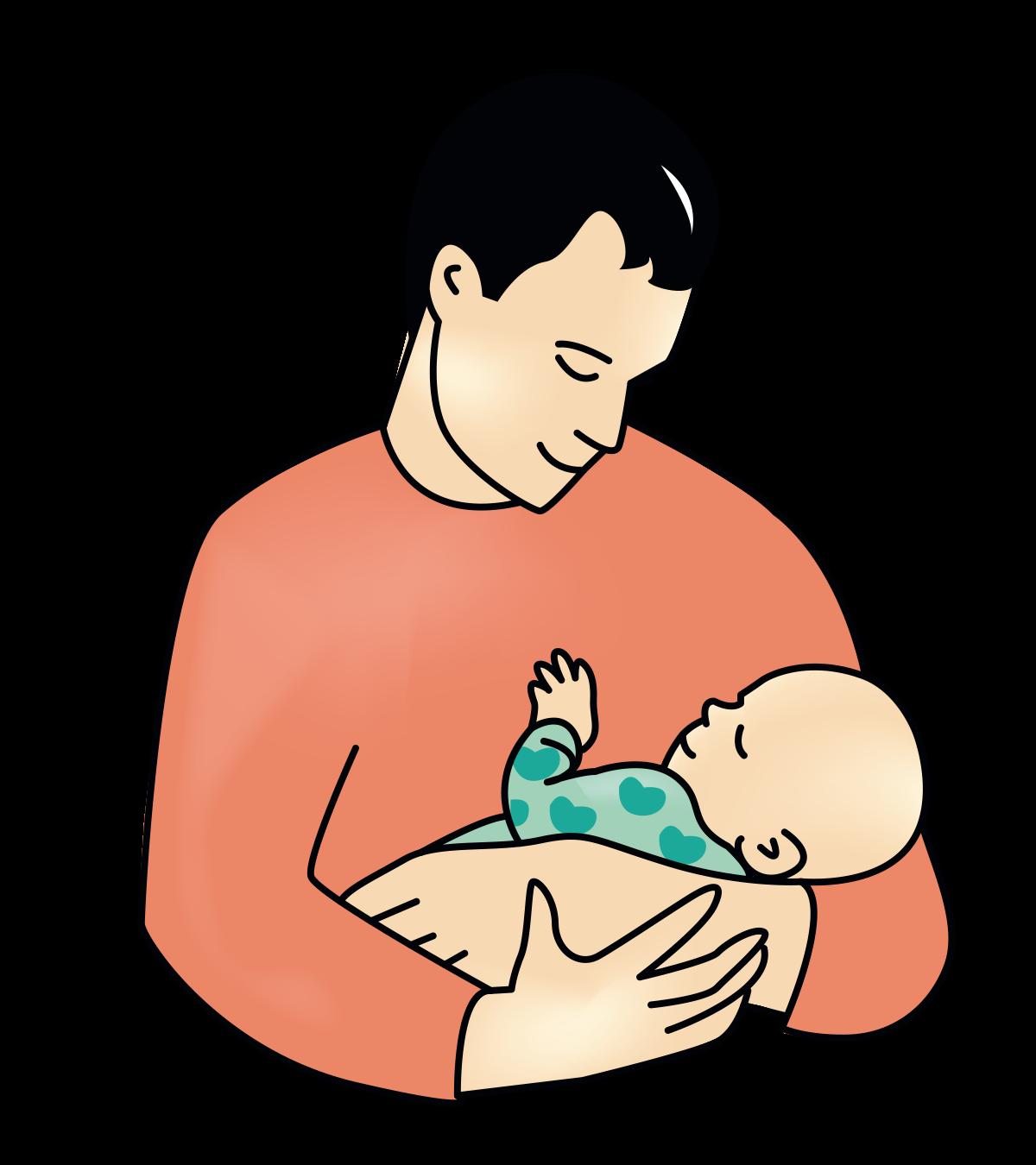 Nybakt pappa med baby