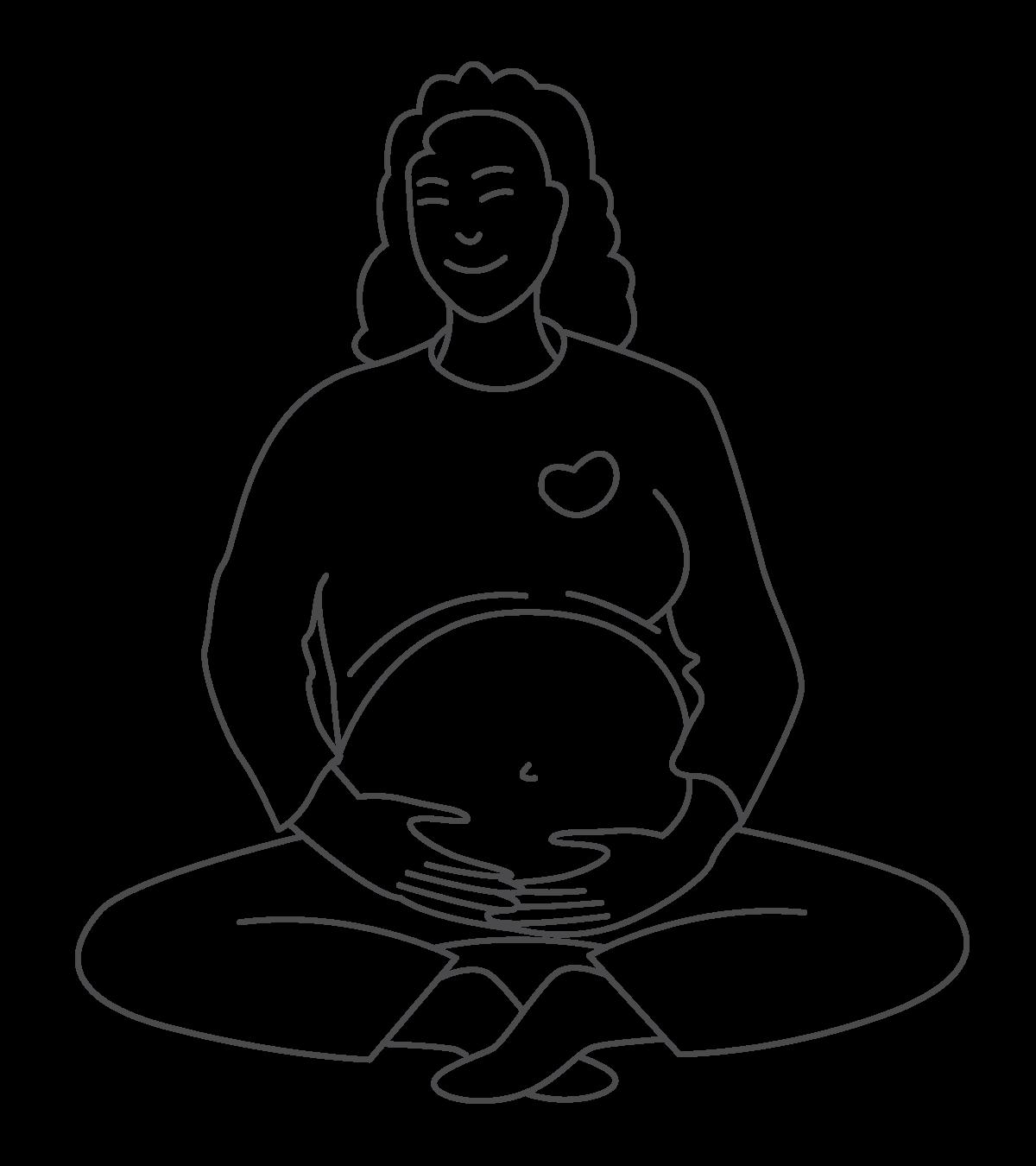 Illustrasjon av blid gravid dame som sitter